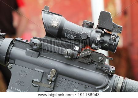 Beaulieu, Hampshire, Uk - May 29 2017: Closeup Of Scope Mounted On A Colt Canada C8 Carbine L119A1