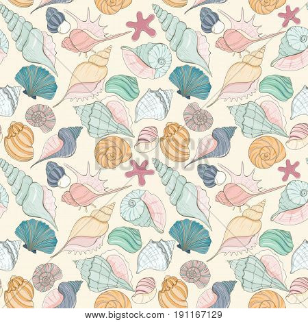 Summer paradise holiday marine background. Seashell seamless pattern can be used for website background, wrapping paper, textile printing Hand draw underwater illustration with sea shells and sea star
