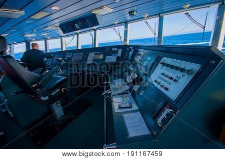 SOUTH ISLAND, NEW ZEALAND- MAY 25, 2017: Ferry boat pilot command cabin with view on the sea.
