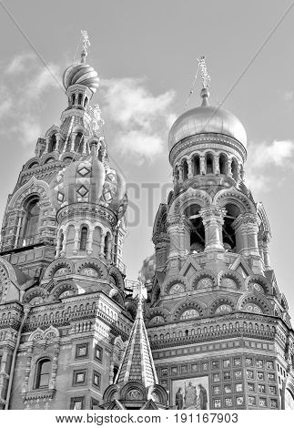 Savior on Spilled Blood Cathedral in St.Petersburg Russia. Black and white.