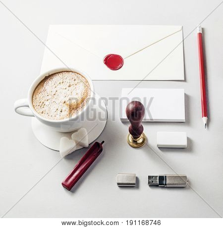 Corporate identity template. Blank stationery set on paper background. Mock-up for branding identity. For design presentations and portfolios. Top view.