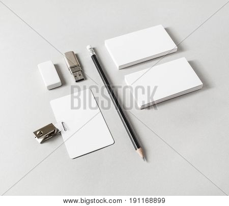 Photo of blank stationery set on paper background. Corporate identity template. Mock up for ID. Responsive design mockup.