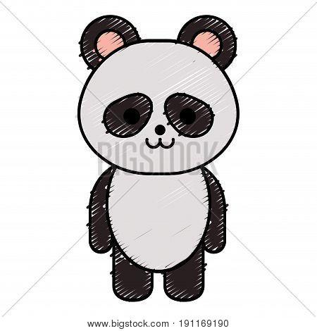 cute little bear panda character vector illustration design
