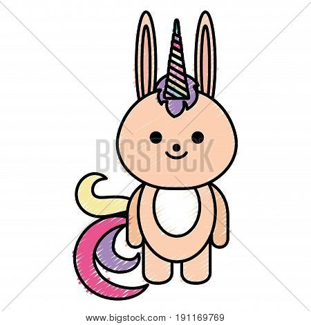 Cute fantasy rabbit with unicorn horn vector illustration design