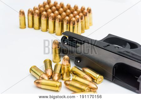 9Mm Pistol With Copper Full Metal Jacket Bullet