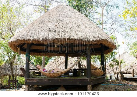 Tourist Relaxing In Laos
