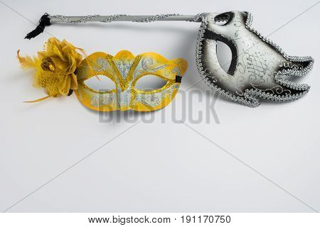 Colorful carnival mask on white background. Masks for theatre