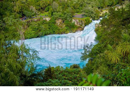 Powerful Huka Falls on the Waikato River near Taupo North Island New Zealand.