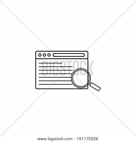 search result icon, seo browser, magnifier symbol, vector graphics, a linear pattern on a white background, eps 10.