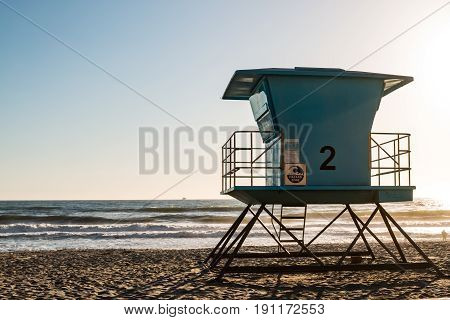 Lifeguard tower at dusk in Oceanside, California.