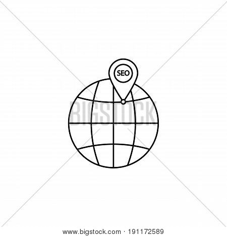 local seo icon, globe with pin symbol, vector graphics, a linear pattern on a white background, eps 10.
