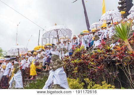 Religious Procession At Pura Besakih Temple In Bali, Indonesia