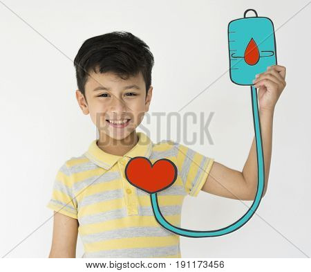 Schoolboy Holding Intravenous Fluid Icon Medical