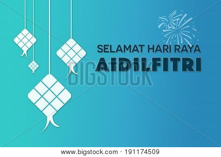 Selamat Hari Raya Aidilfitri greetings (Eid Mubarak greetings in Malay) with copy space