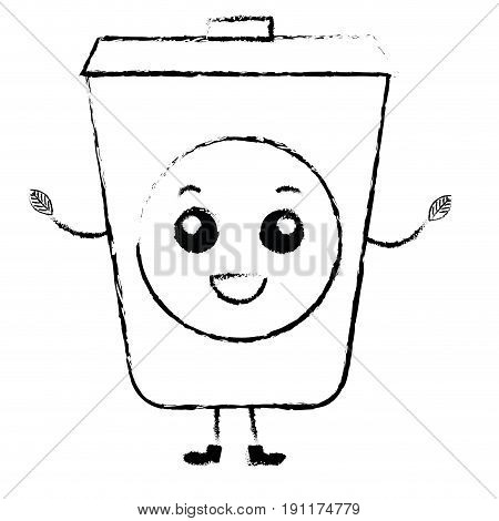 ecology recycle bin kawaii character vector illustration design
