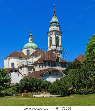 Solothurn, Switzerland - 10 July, 2016: the St. Ursus cathedral. The St. Ursus cathedral is a Swiss heritage site of national significance.