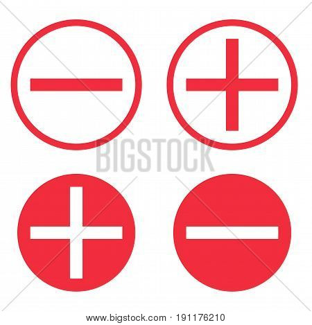 Vector set of icons: plus and minus in a circle. Vector set of icons: plus and minus in a circle. Round Positive Negative symbols.