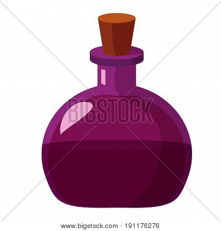 Flask of potion. Cartoon flat illustration of alchemist or magic beaker of potion or poison. Great as halloween or game design element.