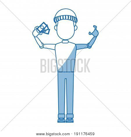 computer hacker man character system thief with banknote money vector illustration