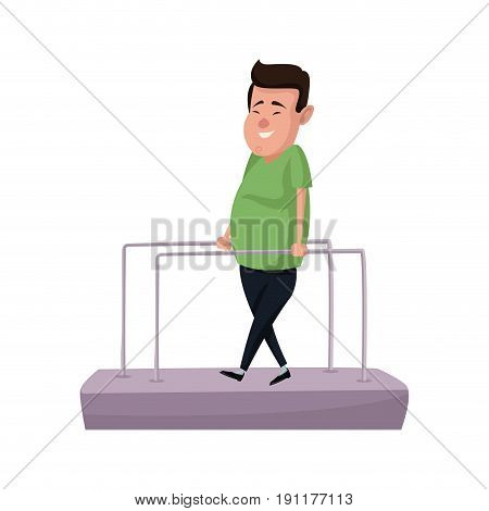 cartoon man patient in the rehabilitation therapy vector illustration