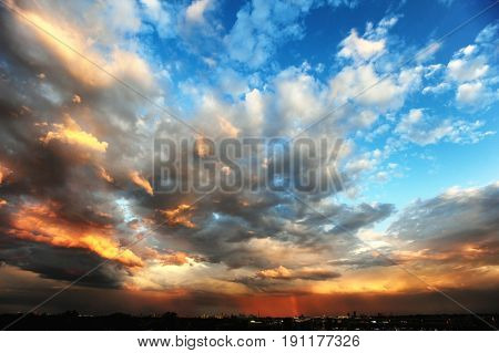 Image of sky after rain at sunset