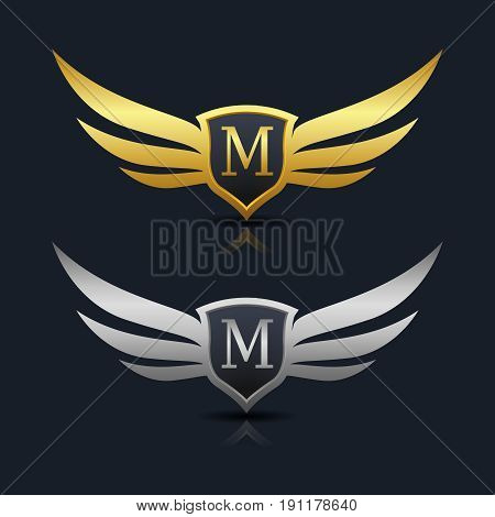 Wings Shield Letter M Logo Template. Vector Illustration design