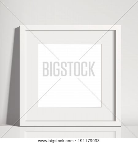 Realistic White Square Matted Picture Frame Mockup  - Realistic empty white square picture frame with mat, isolated on a neutral off-white background. EPS10 file with transparency.