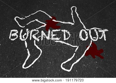 Burned Out Worker Drained Body Chalk Outline Illustration