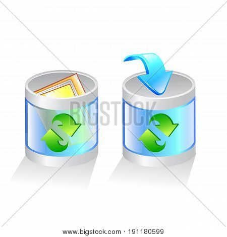 glass recycle bin vector icon. vector Illustration