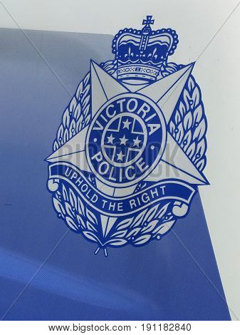 Melbourne Australia - April 24 2017: Sign of the Victorian Police on a Police car