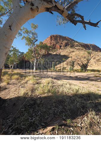 Late afternoon outback in the dry river bed at Simpsons Gap the McDonnell Ranges near Alice Springs Australia May 2017