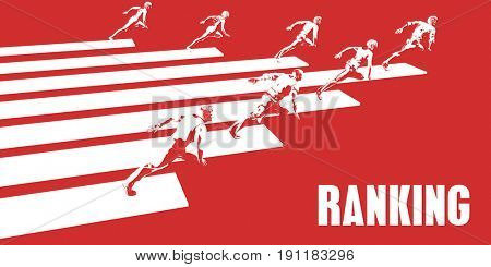 Ranking with Business People Running in a Path 3D Illustration Render