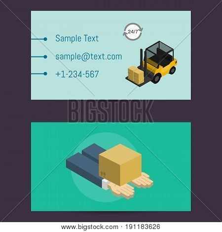 Logistics and delivery business card vector illustration. Delivery template with packing box on human hands and forklift truck. Delivery business, freight shipping company, warehouse logistics