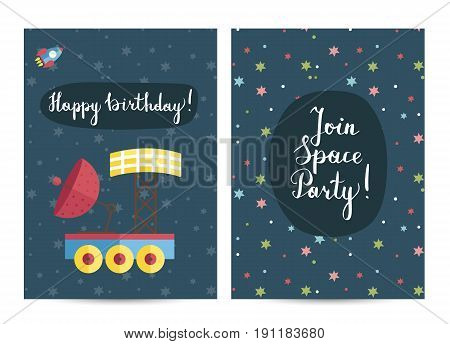 Happy birthday cartoon greeting card on space theme. Planet exploration rover with antenna and solar panel, space rocket on starry blue background vector. Invitation on childrens costumed party