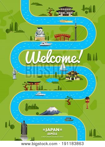 Welcome to Japan poster with famous attractions along winding river vector illustration. Travel design with Torii gate, Fujiyama mountain, Buddha, ancient temple, pagoda. Worldwide traveling concept