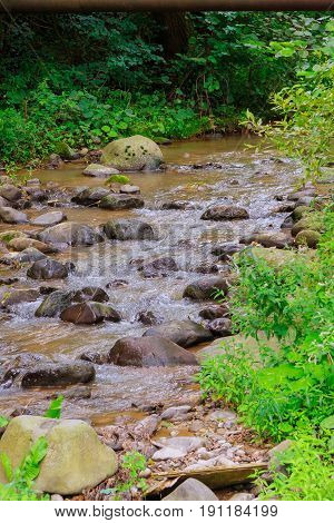 River stream flowing over rock formations in the mountains.