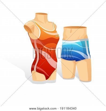 woman and man swimsit showcase. Vector Illustration design