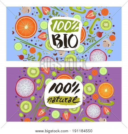 Bio food horizontal flyers set vector illustration. Vegetarian, gmo free, fresh and natural, raw food, best quality, healthy lifestyle, bio and eco nutrition concept. Fruits and vegetables background.