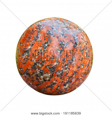 Granite ball isolated on white background, hard smooth