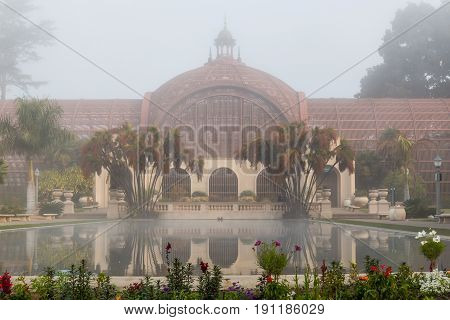 SAN DIEGO, CALIFORNIA - FEBRUARY 21, 2016:  Fog covers the historic Botanical Building in Balboa park, one of the largest lath structures in the world, and built for the 1915-1916 exposition.