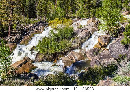 Rushing Waters In Mountain Stream From Melting Snow
