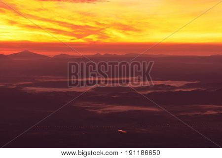 Colorful sky at sunrise ** note select focus with shallow depth of field :ideal use for background.