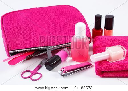 Cosmetics And Accessories For Manicure Or Pedicure With Pink Bag Cosmetic