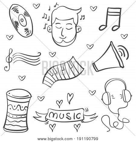 Doodle of music object vector art collection stock