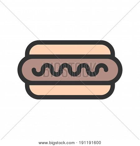 Hotdog, sausage, fries icon vector image. Can also be used for oktoberfest. Suitable for use on web apps, mobile apps and print media