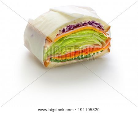 homemade healthy thick sandwich isolated on white background