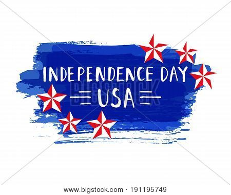 Independence Day hand drawn lettering design vector royalty free stock illustration perfect for advertising, poster, announcement, invitation, party, greeting card, bar, restaurant, menu. fourth of july independence day of the usa
