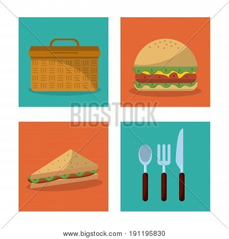 white background with frames of picnic elements with picnic basket burger and sandwich and cutlery set vector illustration