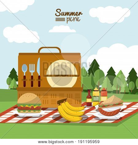 colorful poster of summer picnic with outdoor landscape and picnic basket in tablecloth with meal vector illustration