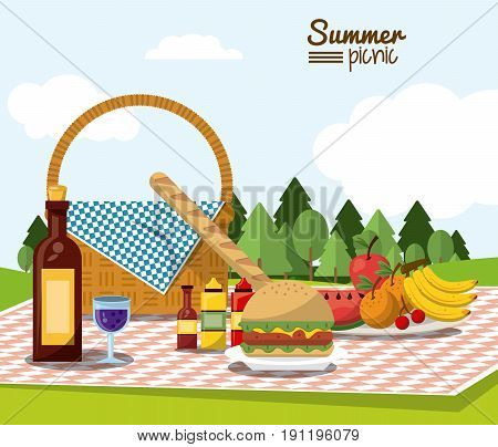 colorful poster of summer picnic with field landscape and picnic basket in tablecloth with wine bottle and fruits and sauces and burger and french bread vector illustration